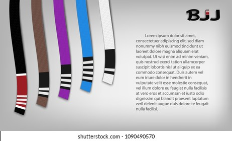 Brazilian Jiu Jitsu vector banner or poster with 5 adult belts, place for your text and stylish BJJ logo. Black brown purple blue and white belts with stripes on a gray wall. High quality illustration