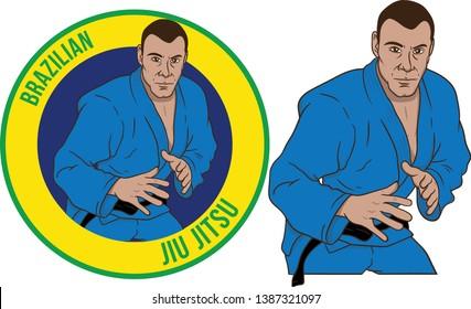 Brazilian jiujitsu Athlete mascot pose