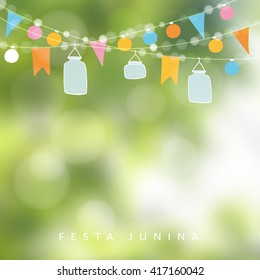 Brazilian june party. Festa junina. String of lights, jar lanterns. Summer birthday decoration. Garden party. Blurred vector background. Midsummer banner.