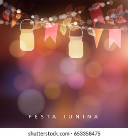 Brazilian june party Festa Junina, midsummer celebration or summer garden party. Vector illustration background with garland of lights, glass jars lanterns and flags.