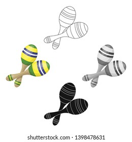 Brazilian maracas icon in cartoon,black style isolated on white background. Brazil country symbol stock vector illustration.