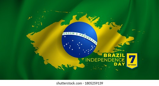 Brazilian national holiday Independence Day of Brazil is celebrated on 7 September. graphic design in symbolic colors business cards, invitations, gift cards, flyers and brochures, vector illustration