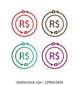 Brazilian Real Currency Logo useful, editable. And printable Perfect for use in a wide range of new media templates: Web Marketing Agency, Social Media Services Showcase, Online Marketing Apps,  Web.