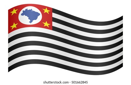 Brazilian state of Sao Paulo official flag, symbol. Brasil banner, background. Federative Republic of Brazil patriotic element. Correct colors. Flag of Sao Paulo waving on white background, vector