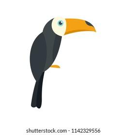 Brazilian toucan icon. Flat illustration of brazilian toucan vector icon for web isolated on white