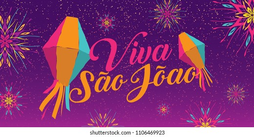 Brazilian Traditional Celebration Festa Junina. Portuguese Brazilian Text saying Hurray Saint John. Festa de Sao Joao. Festive Typographic Vector Art.