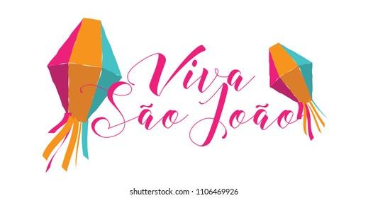 Brazilian Traditional Celebration Festa Junina.  Portuguese Brazilian Text saying Hurray Saint John. Festa de Sao Joao. Festive Typographic Vector Art.