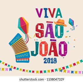 Brasilianische traditionelle Feier Festa Junina.  Portugiesischer brasilianischer Text, der Saint John sagt. Festa de Sao Joao. Festliche Typografische Vektorkunst.