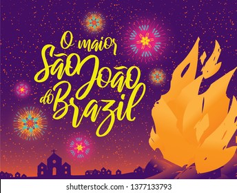 Brazilian Traditional Celebration Festa Junina.  Portuguese Brazilian Text saying The Biggest Sao Joao of Brazil. Festa de Sao Joao. Festive Typographic Vector Art. Colorful composition.