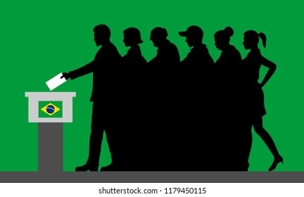 Brazilian voters crowd silhouette by voting for election in Brazil. All the silhouette objects, and background are in different layers.