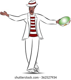 Brazilian white man, Malandro, dancing samba