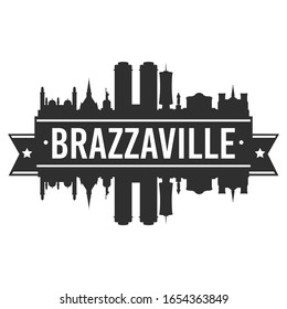 Brazzaville, Republic of the Congo Skyline. Banner Vector Design Silhouette Art. Cityscape Travel Monuments.