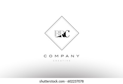 brc b r c retro vintage simple rhombus three 3 letter combination black white alphabet company logo line design vector icon template