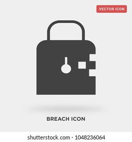 breach icon on grey background, in black