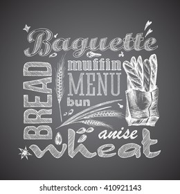 Bread, baguettes package. Letter design hand drawn vector isolated for bakery shop, confectionery. Vector sketch different words and elements for baking and sweet themes. Chalkboard style.