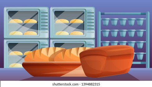 Bread from bakery factory concept banner. Cartoon illustration of bread from bakery factory vector concept banner for web design