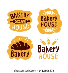Bread and bakery products logos and icons with lettering. Bagel and croissant and baguette silhouettes with signs for pastry food shop. Food of dough and flour badges vector isolated