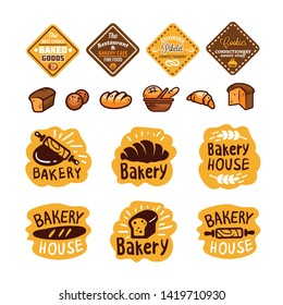Bread and bakery products logos and icons with lettering. Bagel and croissant and baguette silhouettes with signs for pastry food shop. Food of dough and flour badges vector isolated set