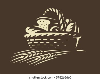 Bread basket icon - vector illustration. Bakery emblem design on dark background