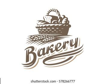 Bread basket logo - vector illustration. Bakery emblem design on white background