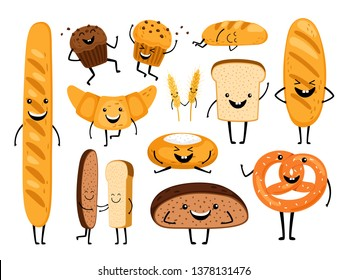 Bread characters. Funny tasty bakery pastries, cartoon happy breads faces character set, kawaii croissant and pastry, cute chocolate muffin and baguette expression vector illustration