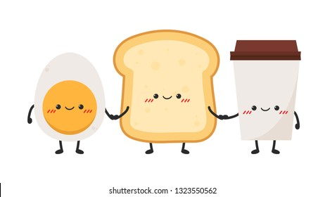 bread and coffee character design. wallpaper. egg character design.
