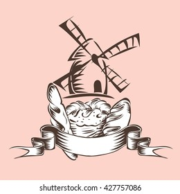 bread croissant baguette loaf with ribbon and windmill vector