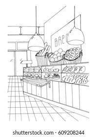 bread department hand drawn black and white illustration, store interior.