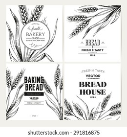 Bread design template collection. Banner set. Vector illustration