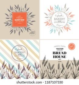 Bread design template collection. Wheat stalk vintage illustration. Vector illustration