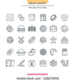 Bread and dessert thin line icons set. Vector Illustration