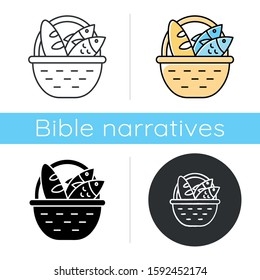 Bread and fish in basket icon. Feeding the multitude. Holy week. Miracle of Christ. Blessing food from Bible. New Testament. Flat design, linear and color styles. Isolated vector illustrations