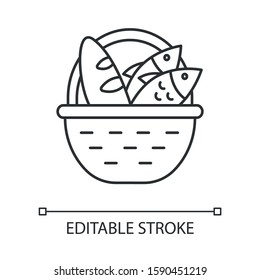 Bread and fish in basket linear icon. Feeding the multitude. Holy week. Miracle of Christ. New Testament. Thin line illustration. Contour symbol. Vector isolated outline drawing. Editable stroke