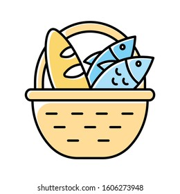 Bread and fish in basket yellow color icon. Feeding the multitude. Holy week. Miracle of Christ. Blessing food from Bible. New Testament. Bible narrative. Gospel story. Isolated vector illustration