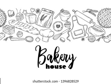 Bread hand drawn illustration. Vintage pastry, desserts, cakes, wheat, flour fresh bread sketches for bakery shop or cafeteria. Seamless pattern vector graphic, stylized image background for menu