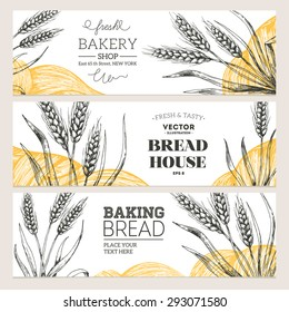 Bread horizontal banners collection. Banner set. Vector illustration