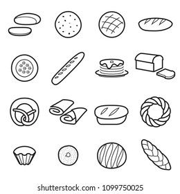 Bread icons. Collection of symbols of different kinds of bread, flour baker goods. Vector illustration. Editable stroke