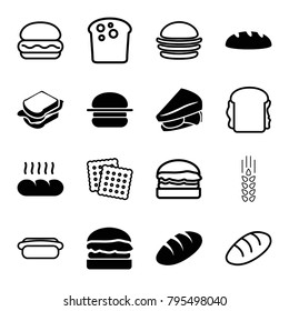 Bread icons. set of 16 editable filled and outline bread icons such as bread, sandwich, burger, cookies, hot dog