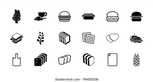 Bread icons. set of 18 editable filled and outline bread icons: sandwich, coffee and croissant, hot dog, wheat, cookies, burger