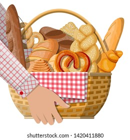 Bread icons and wicker basket in hand. Whole grain, wheat and rye bread, toast, pretzel, ciabatta, croissant, bagel, french baguette, cinnamon bun. Vector illustration in flat style