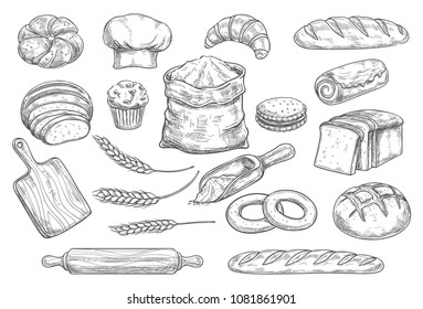 Bread isolated sketch set of bakery and pastry shop food. Bread, croissant and baguette, bun, cupcake and cake, wheat and rye long loaf bread, cookie and toast, bagel, sweet roll and flour bag