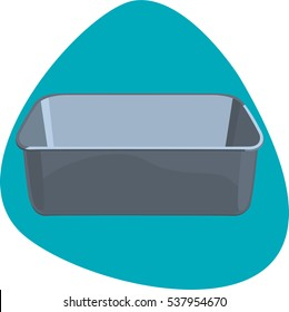 Bread loaf pan. Empty and clean rectangular pan for baking bread. Isolated. On aquamarine background.