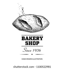 Bread loaf sketch drawing top view. Hand drawn sketch style bakery shop product. Fresh morning baked food vector illustration for menu design, labels and packaging. Isolated on white background.