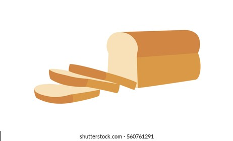Bread loaf and Sliced with isolated white background