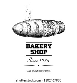Bread loaf top view sliced sketch drawing. Hand drawn sketch style bakery shop product. Fresh morning baked food vector illustration for menu design, labels and packaging. Isolated on white.
