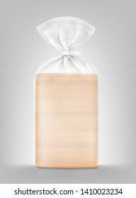 Bread package mockup. Transparent plastic bag with clip. Vector illustration Packaging template ready for your design, presentation, promo, adv. EPS10.
