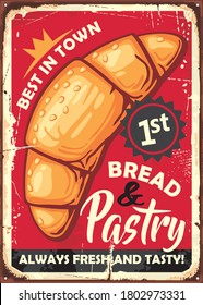 Bread and pastries poster sign design in vintage style made for bakery. Vector retro image.