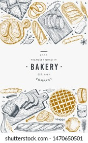Bread and pastry banner. Vector bakery hand drawn illustration. Vintage design template.