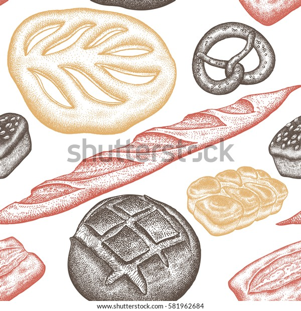 Bread products seamless pattern. Vintage engraving style. Vector illustration of food design for textiles, paper, wrapping, packaging, fabric, tissue. Hand drawing. White, red and brown.