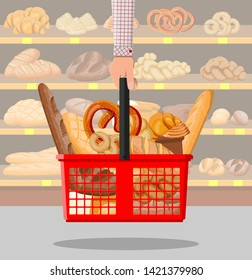 Bread products in shopping basket in hand. Supermarket interior. Whole grain, wheat and rye bread, toast, pretzel, ciabatta, croissant, bagel, french baguette, cinnamon bun. Flat vector illustration